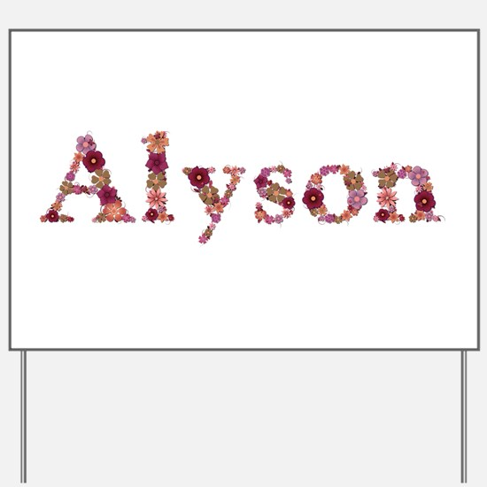 Alyson Pink Flowers Yard Sign