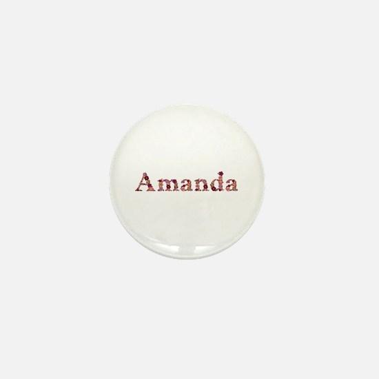 Amanda Pink Flowers Mini Button