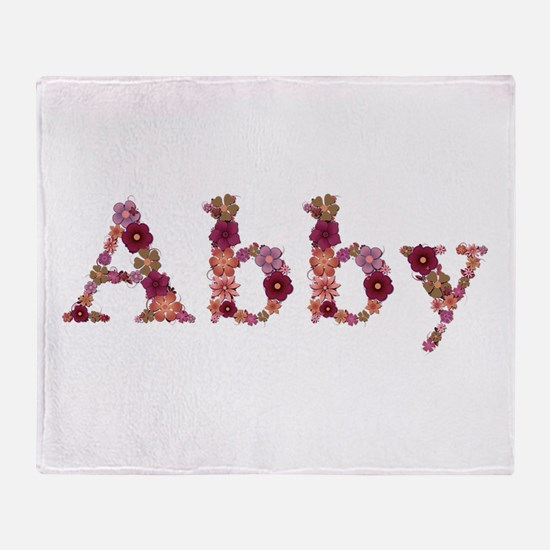 Abby Pink Flowers Throw Blanket