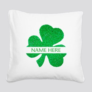 Custom Name Shamrock Square Canvas Pillow