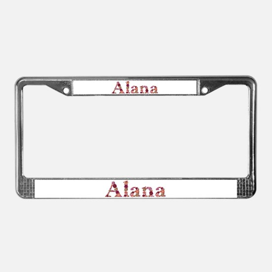 Alana Pink Flowers License Plate Frame