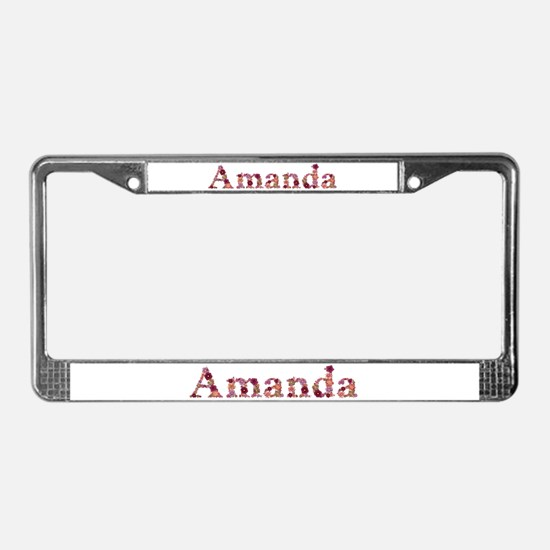 Amanda Pink Flowers License Plate Frame