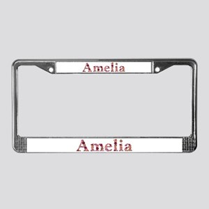 Amelia Pink Flowers License Plate Frame