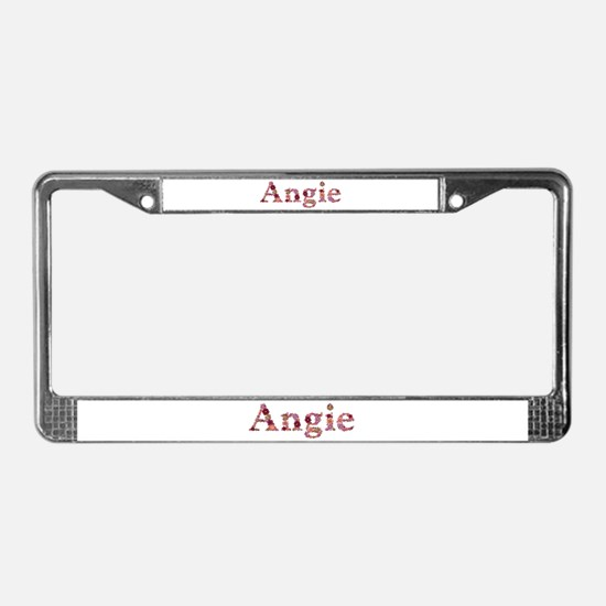 Angie Pink Flowers License Plate Frame