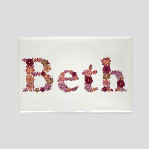 Beth Pink Flowers Rectangle Magnet