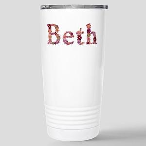 Beth Pink Flowers Stainless Steel Travel Mug