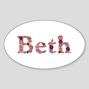 Beth Pink Flowers Oval Sticker