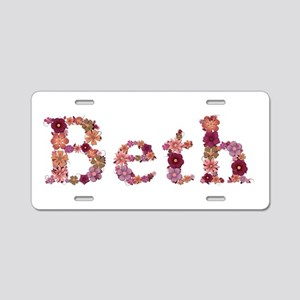 Beth Pink Flowers Aluminum License Plate