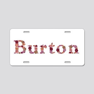 Burton Pink Flowers Aluminum License Plate