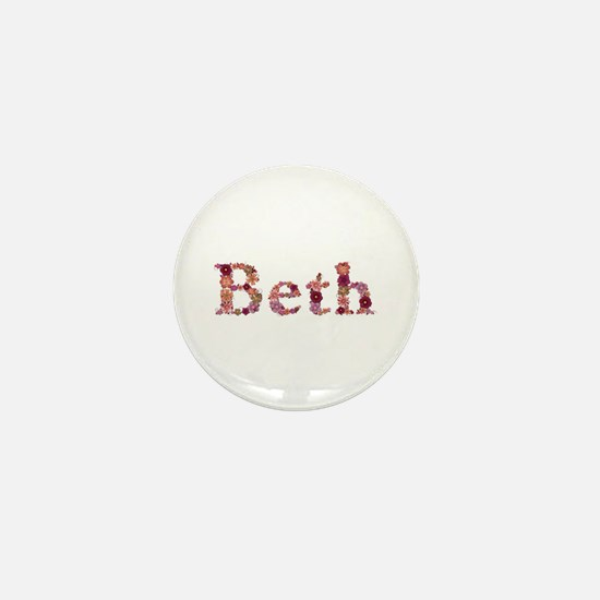 Beth Pink Flowers Mini Button