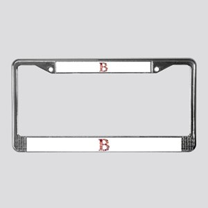 B Pink Flowers License Plate Frame