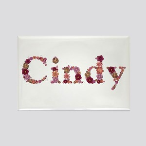 Cindy Pink Flowers Rectangle Magnet