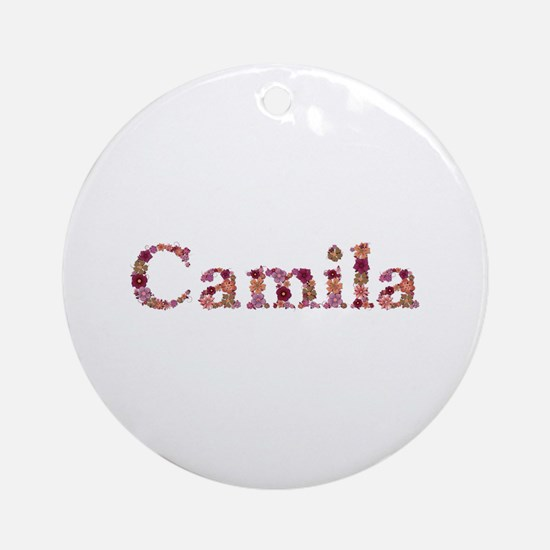 Camila Pink Flowers Round Ornament