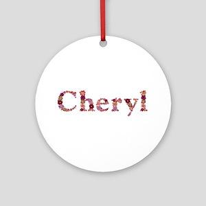 Cheryl Pink Flowers Round Ornament