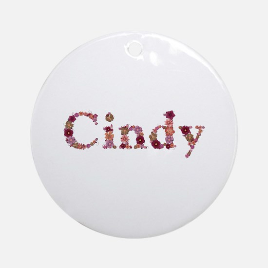 Cindy Pink Flowers Round Ornament