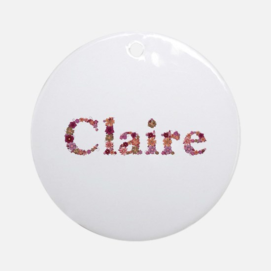 Claire Pink Flowers Round Ornament