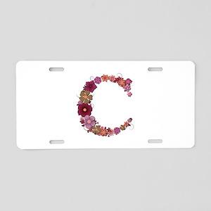 C Pink Flowers Aluminum License Plate