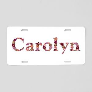 Carolyn Pink Flowers Aluminum License Plate