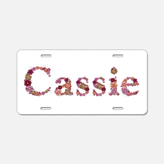 Cassie Pink Flowers Aluminum License Plate