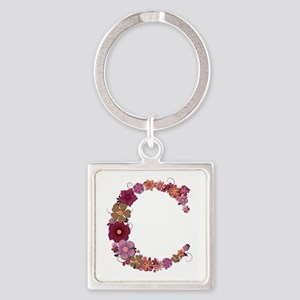 C Pink Flowers Square Keychain