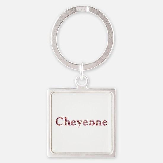 Cheyenne Pink Flowers Square Keychain