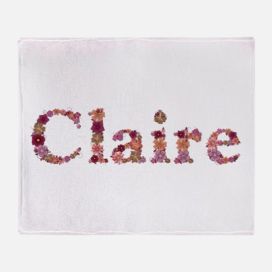 Claire Pink Flowers Throw Blanket