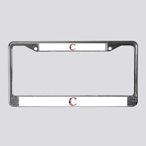 C Pink Flowers License Plate Frame