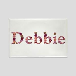 Debbie Pink Flowers Rectangle Magnet