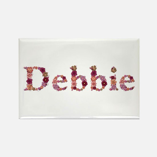 Debbie Pink Flowers Rectangle Magnet
