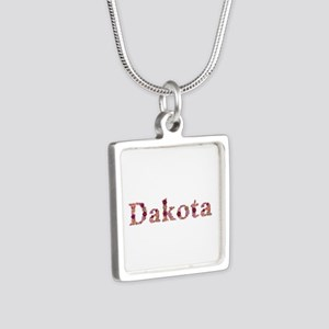 Dakota Pink Flowers Silver Square Necklace
