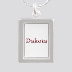 Dakota Pink Flowers Silver Portrait Necklace