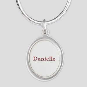 Danielle Pink Flowers Silver Oval Necklace