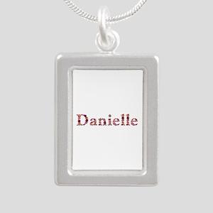 Danielle Pink Flowers Silver Portrait Necklace