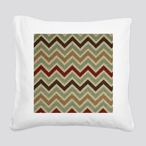Weathered Burlap Style JigJag Square Canvas Pillow