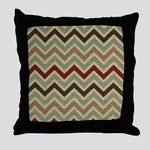 Weathered Burlap Style JigJag Throw Pillow