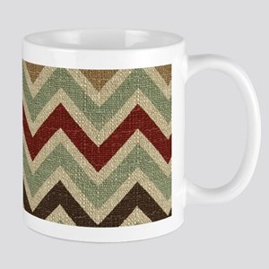 Weathered Burlap Style JigJag Mugs
