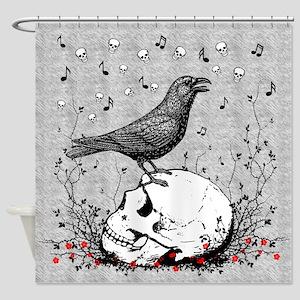 Raven Sings Song of Death on Skull Illustration Sh