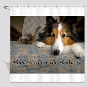 Home is where the Sheltie is Shower Curtain