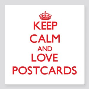 """Keep calm and love Postcards Square Car Magnet 3"""""""
