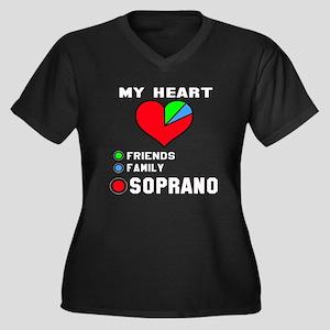 My Heart Fri Women's Plus Size V-Neck Dark T-Shirt