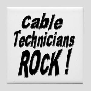 Cable Techs Rock ! Tile Coaster