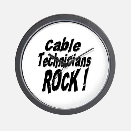 Cable Techs Rock ! Wall Clock