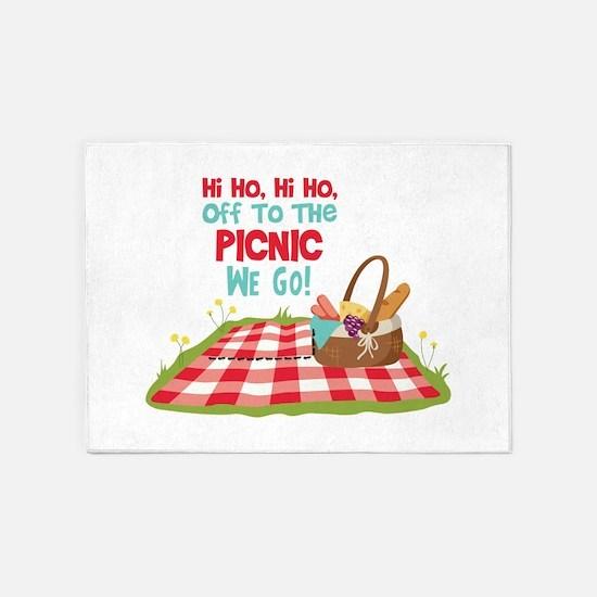 Hi Ho,Hi Ho, Off To The Picnic We Go! 5'x7'Area Ru