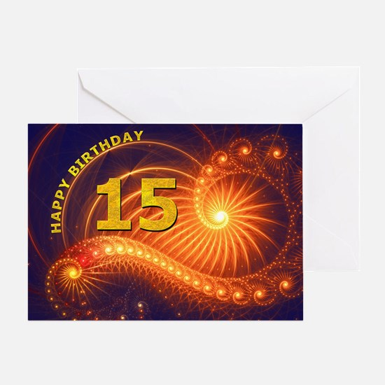 15th Birthday card, swirling lights Greeting Cards