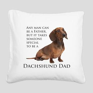 Dachshund Dad Square Canvas Pillow