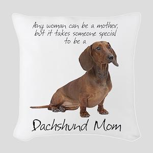 Dachshund Mom Woven Throw Pillow