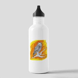 Owl on Orange Sports Water Bottle