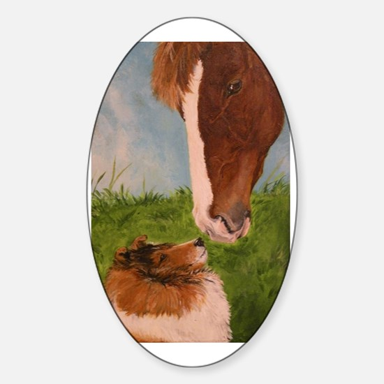 Sable Sheltie and Horse Sticker (Oval)