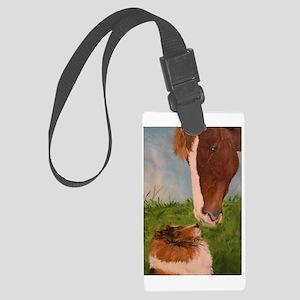Sable Sheltie and Horse Large Luggage Tag