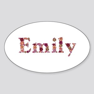 Emily Pink Flowers Oval Sticker